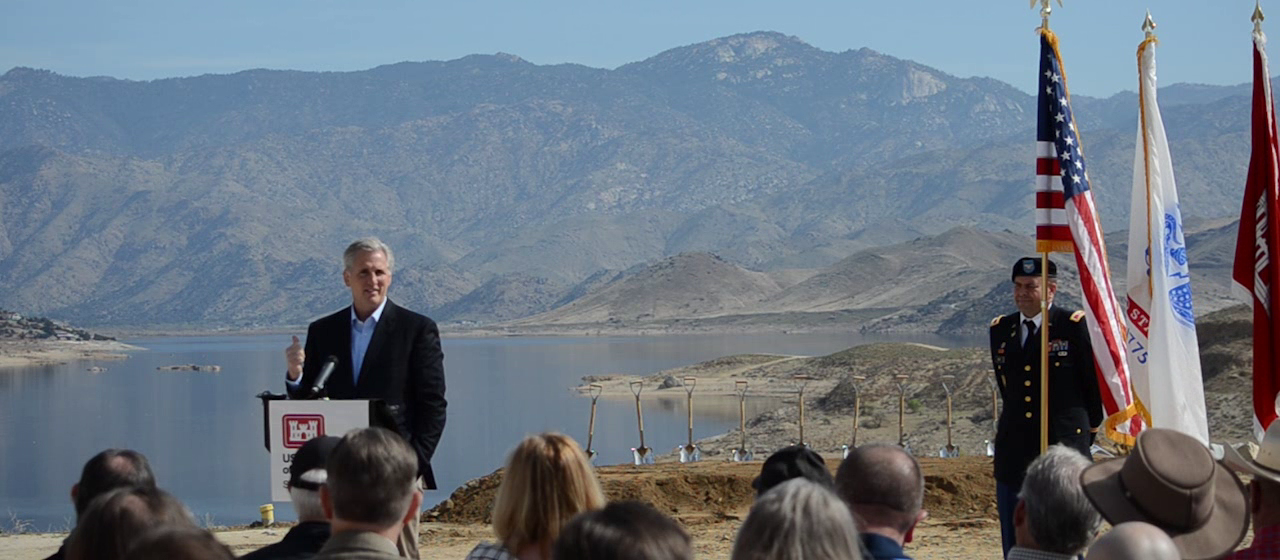 Representative Kevin McCarthy, California's 23rd Congressional District provides remarks at the Phase II groundbreaking ceremony for the Isabella Dam Safety Modification Project April 3, 2018. (Photo: US Army Corps of Engineers Sacramento District)