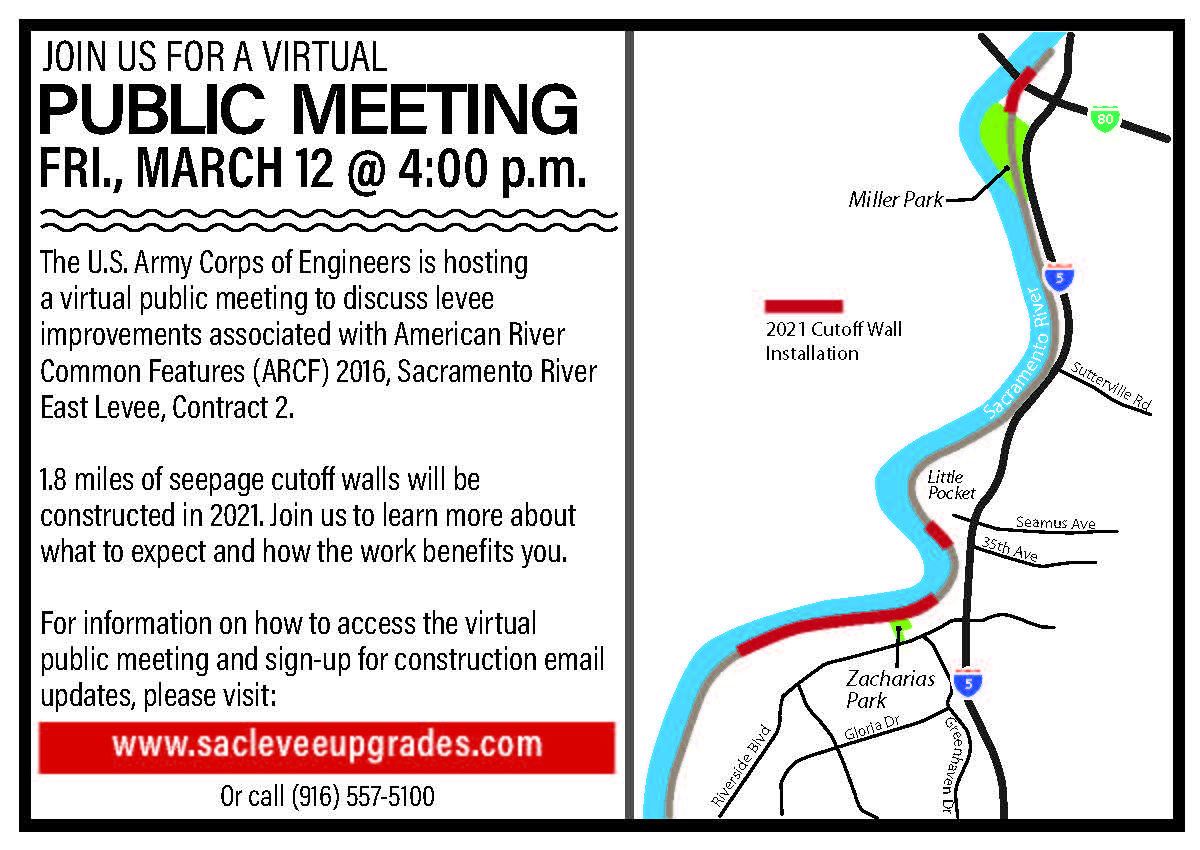 Public Meeting postcard with map of construction areas. Public meeting will be held Friday, March 12, 2021 at 4 p.m. to discuss upcoming construction activities for Sacramento River East Levee Contract 2.